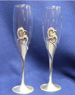 WED001 Hearts Toasting Flute Set