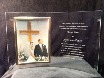 Curved Glass Frame with Wedding Invitation Engraved on it