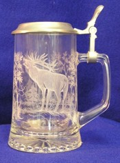 Elk Glass Tankard with Pewter Lid